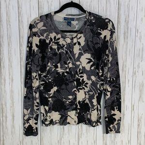 Size M/P Karen Scott Floral Cardigan Sweater